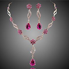 Dame Smykke Sett Brude smykker sett Krystall Imitert Rubin Mote Europeisk Blomstret Krystall Zirkonium Kubisk Zirkonium Legering Smykker1