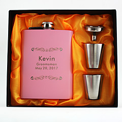 Personalized the Stainless Steel Hip Flasks 8-oz Pink Flask Set Thanks Gift