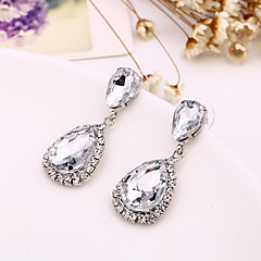 Full Crystal Drop Shape Earrings Jewelry Basic Design Sexy Cute Style Wedding Party Halloween Daily Alloy 1 pair Silver