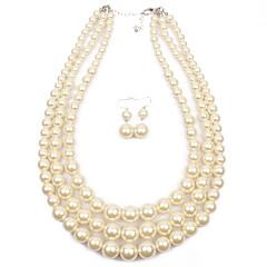 סט תכשיטים Euramerican פנינה Circle Shape זהב לבן אפור אדום 1 שרשרת 1 זוג עגילים ל חתונה Party אירוע מיוחד 1set מתנות חתונה