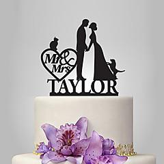 Personalized Acrylic Couple And Cat & Dog Wedding Cake Topper