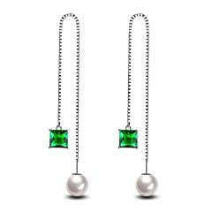 Heren Dames Oorknopjes Imitatieparel Modieus Hypoallergeen Eenvoudige Stijl Klassiek Elegant Kostuum juwelen Verzilverd Lijnvorm Sieraden