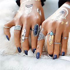 2017 New 8pcs/Set Midi ring Sets for Women Boho Beach Vintage Tibetan Turkish Crystal Silver Flower Knuckle Rings Jewelry Gift