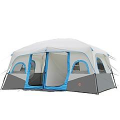 CAMEL >8 사람 텐트 더블 베이스 캠핑 텐트 투 룸 가족 캠프 텐트 따뜨하게 유지 방수 휴대용 비 방지 통기성 용 캠핑 & 하이킹 피싱 등산 여행 2000-3000 mm 425*305*203 CM