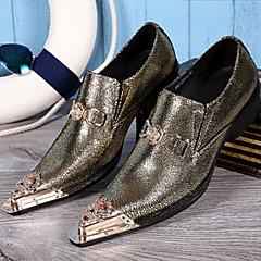 Masculino-Oxfords-Conforto Inovador Sapatos formais-Rasteiro-Preto Verde-Couro-Casamento Escritório & Trabalho Festas & Noite