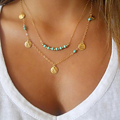 Women's Pendant Necklaces Turquoise Jewelry Gold Plated Turquoise Alloy Basic Double-layer Personalized Fashion Golden Jewelry ForParty