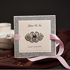 Side Fold Wedding Invitations 50-Invitation Cards Classic Style Pearl Paper Ribbon Bow Rhinestones