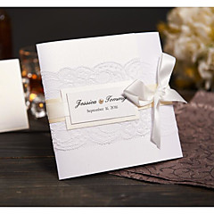 Tri-Fold Wedding Invitations Invitation Cards Modern Style Pearl Paper Ribbon Bow Laces