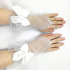 K zápěstí Bez prstů Síťované Rukavice Síť Tyl Pro nevěstu Jaro Léto Podzim Volány Mašle Kamínky