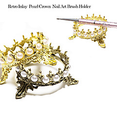 日本の真珠ステンレススチールクラウンの形状のメイクアップ爪ブラシホルダーディスプレイ棚
