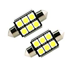 ziqiao白41mm 5050 6 smd led c5w車のオートインテリアドームドア電球の光路の作業ランプ(12v / 2pcs)