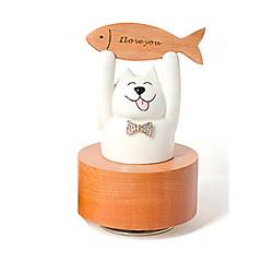 Boîte à musique Cylindrique Chat Déco de Célébrations Bois Céramique Unisexe