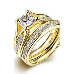 Karikagyűrűk Gyűrű Eljegyzési gyűrű Divat minimalista stílusú Menyasszonyi Titanium Acél Round Shape Ékszerek MertEsküvő Parti Különleges