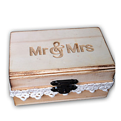Wooden Mr&Mrs lace burn the country effect rectangle ring box - original wood color