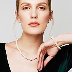 Žene Komplet nakita Gipke i čvrste narukvice Pramenove Ogrlice Igazgyöngy nyaklánc Circle Shape Jewelry Biseri Imitacija dijamantaModa