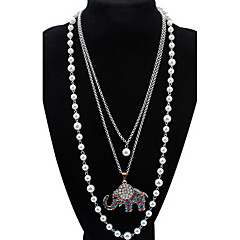 Жен. Девочки Ожерелья с подвесками Пряди Ожерелья Слоистые ожерелья Искусственный жемчуг Стразы В форме животных Жемчуг Стразы Сплав