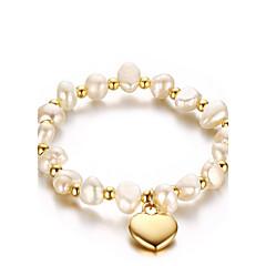 Dame Kæde & Lænkearmbånd Perle Lyserød Mode Vintage Perle Titanium Stål Hjerteformet Smykker Til Bryllup Fest/aften Atletisk Forlovelse