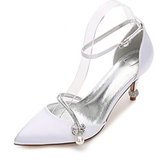 Women's Wedding Shoes Comfort Mary Jane D'Orsay & Two-Piece Basic Pump Ankle Strap Spring Summer Satin Wedding Dress Party & Evening