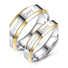 Casal Anéis de Casal Moda Estilo simples Elegant Titânio Aço Formato Circular Jóias Para Casamento Noivado Diário Cerimônia Festa de Noite