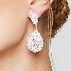 Women's Drop Earrings Rhinestone Bridal Elegant Luxury Rhinestone Silver Plated Drop Teardrop Jewelry For Wedding Party Anniversary Gift