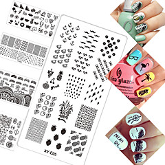 16pcs/Set Fashion Nail Art DIY Beauty Stamping Plates New Arrival Beautiful Flower Cute Summer Fruit Cartoon Design Manicure DIY Stencils XYE1-16