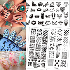 1pcs New Arrival Summer Hot Fashion Nail Art Stamping Template Plate Cute Flamingo&Fruit Pineapple Creative Design Nail Art  DIY Beauty Tool XYE1-16