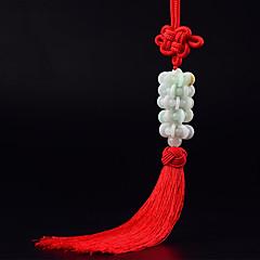 DIY autojen riipuksia auton koristelu kiinalainen tyyli muoti onni punainen tupsu auton riipus&Koriste jade
