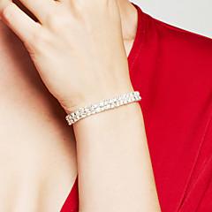 Damen Bettelarmbänder Strass Strass Elegant Brautkleidung Luxus-Schmuck Modeschmuck Doppelschicht versilbert Diamantimitate Quadatische
