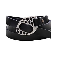 Herrn Damen Wickelarmbänder Lederarmbänder Handgemacht Simple Style Leder Aleación Knopf Twist Circle Schmuck Für Normal Ausgehen