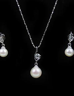 14k wit goud wit 7,5 - 8mm aa fw parel ketting en oorbellen set