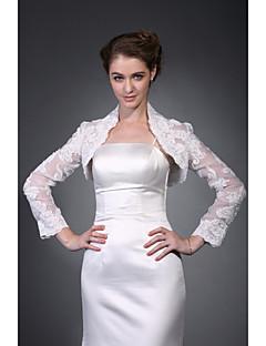 Long Sleeves Organza  Lace Bridal Jacket / Wedding Wrap (WSM0406)
