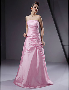 Floor-length Taffeta Bridesmaid Dress - Lace-up A-line / Princess Strapless Plus Size / Petite with Beading / Side Draping