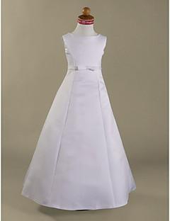 Lanting Bride ® A-line / Princess Floor-length Flower Girl Dress - Satin Sleeveless Jewel with Bow(s) / Sash / Ribbon
