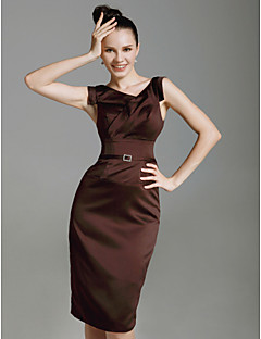 Homecoming Cocktail Party/Wedding Party Dress - Chocolate Plus Sizes Sheath/Column V-neck Knee-length Stretch Satin