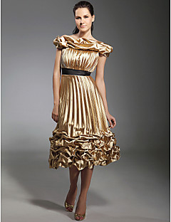 TS Couture® Cocktail Party / Holiday Dress - Gold Plus Sizes / Petite A-line / Princess Off-the-shoulder Tea-length Stretch Satin