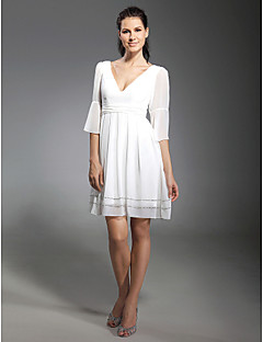 TS Couture Cocktail Party Graduation Dress - Short Celebrity Style A-line Princess V-neck Short / Mini Chiffon with Beading Ruching Pleats