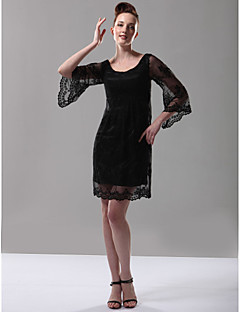 TS Couture® Cocktail Party / Holiday Dress - 1920s Plus Size / Petite Sheath / Column Scoop Short / Mini Lace with Lace
