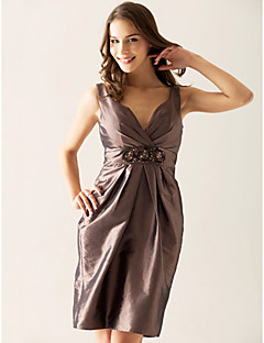 Lanting Knee-length Taffeta Bridesmaid Dress - Brown Plus Sizes / Petite Sheath/Column V-neck