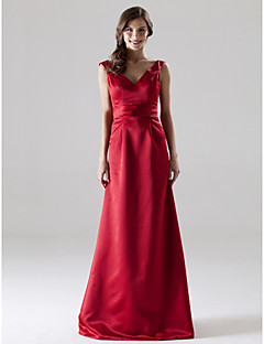 Lanting Bride® Floor-length Satin Bridesmaid Dress A-line / Princess V-neck / Straps Plus Size / Petite with