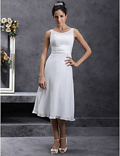 Lanting Bride Sheath/Column Petite / Plus Sizes Wedding Dress-Tea-length Scoop Chiffon