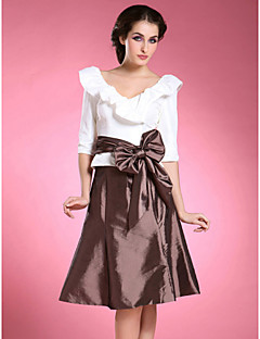 Lanting A-line Plus Sizes / Petite Mother of the Bride Dress - Multi-color Knee-length Half Sleeve Taffeta