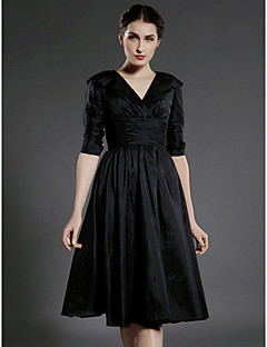 Lanting A-line Plus Sizes / Petite Mother of the Bride Dress - Black Knee-length Half Sleeve Taffeta