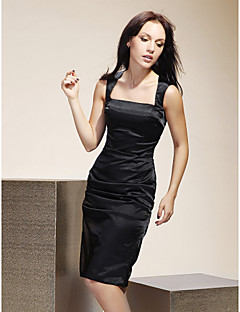 Knee-length Stretch Satin Bridesmaid Dress-Plus Size / Petite Sheath/Column Square