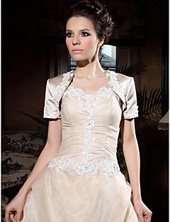 korte mouw satijnen bruids-applique jas / bruiloft wrap (wsm0541)