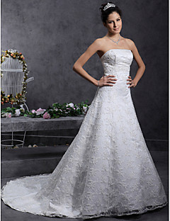 Lanting Bride® A-line / Princess Petite / Plus Sizes Wedding Dress - Classic & Timeless / Elegant & Luxurious Lacy Looks Court Train