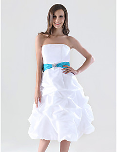 LAN TING BRIDE Knee-length Strapless Bridesmaid Dress - Color Block Sleeveless Taffeta
