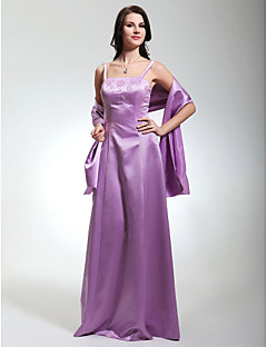 Bridesmaid Dress Floor Length Satin Sheath Column Spaghetti Straps Dress With A Wrap