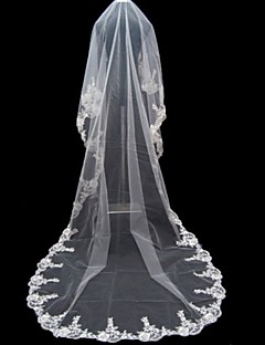 Wedding Veil One-tier Cathedral Veils Lace Applique Edge 196.85 in (500cm) Tulle WhiteA-line, Ball Gown, Princess, Sheath/ Column,