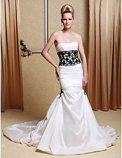 Lanting Bride Trumpet/Mermaid Petite / Plus Sizes Wedding Dress-Chapel Train Strapless Taffeta