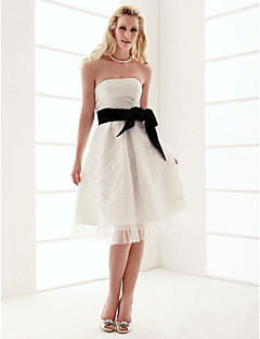 Lanting A-line Strapless Knee-length Organza Over Satin Wedding Dress